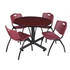 "Kobe 48"" Round Breakroom Table- Mahogany & 4 'M' Stack Chairs- Burgundy"