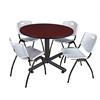 "Kobe 48"" Round Breakroom Table- Mahogany & 4 'M' Stack Chairs- Grey"