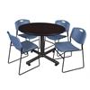 """Kobe 48"""" Round Breakroom Table- Mocha Walnut  & 4 Zeng Stack Chairs- Blue"""