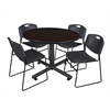 "Kobe 48"" Round Breakroom Table- Mocha Walnut  & 4 Zeng Stack Chairs- Black"