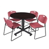 "Kobe 48"" Round Breakroom Table- Mocha Walnut  & 4 Zeng Stack Chairs- Burgundy"