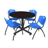 "Kobe 48"" Round Breakroom Table- Mocha Walnut  & 4 'M' Stack Chairs- Blue"
