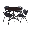 "Kobe 48"" Round Breakroom Table- Mocha Walnut  & 4 'M' Stack Chairs- Black"