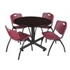 "Kobe 48"" Round Breakroom Table- Mocha Walnut  & 4 'M' Stack Chairs- Burgundy"