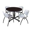 "Kobe 48"" Round Breakroom Table- Mocha Walnut  & 4 'M' Stack Chairs- Grey"