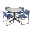 "Kobe 48"" Round Breakroom Table- Maple & 4 Zeng Stack Chairs- Blue"