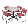 "Kobe 48"" Round Breakroom Table- Maple & 4 Zeng Stack Chairs- Burgundy"