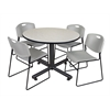 "Kobe 48"" Round Breakroom Table- Maple & 4 Zeng Stack Chairs- Grey"