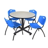 """Kobe 48"""" Round Breakroom Table- Maple & 4 'M' Stack Chairs- Blue"""
