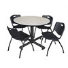 "Kobe 48"" Round Breakroom Table- Maple & 4 'M' Stack Chairs- Black"