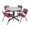 "Kobe 48"" Round Breakroom Table- Maple & 4 'M' Stack Chairs- Burgundy"