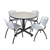 "Kobe 48"" Round Breakroom Table- Maple & 4 'M' Stack Chairs- Grey"