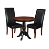 """Mod 30"""" Round Pedestal Table- Cherry/Black & 2 Tyler Dining Room Chairs- Cherry/Black"""