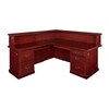 "Prestige 72"" x 36"" Double Pedestal Left Reception Desk- Mahogany"