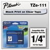 "P-Touch TZe Standard Adhesive Laminated Labeling Tape, 1/4""w, Black on Clear"