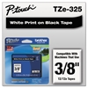 "P-Touch TZe Standard Adhesive Laminated Labeling Tape, 3/8""w, White on Black"