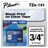 "Brother P-Touch TZe Standard Adhesive Laminated Labeling Tape, 3/4""w, Black on Clear"