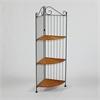 3 Tier Corner Bookcase, Wicker/ Metal