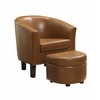 Laguna Club Chair with Storage Ottoman, Havana Brown PU