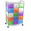15 Drawer Rolling Storage (10 slim, 15 med drawers) w/ Circular Handles, Multi Color Drawers