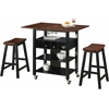 Phoenix Kitchen Island with 2 Stools, Mahogany And Black