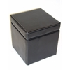Faux Leather Box Ottoman w/ lift top, Black