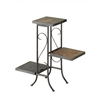 3 Tier Plant Stand w/ slate top, Black Metal/ Slate