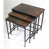 3 piece nesting tables w/ slate tops, Black Metal/ Slate