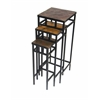 3 piece slate square plant stands w/ slate tops, Black Metal/ Slate