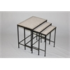 3 piece Travertine Nesting Tables, Rustic Bronze/ Travertine