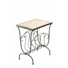 Travertine Magazine End Table, Rustic Bronze/ Travertine