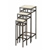 3 piece slate square plant stands, Rustic Bronze/ Travertine