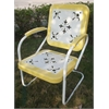 Metal Chair Retro, Yellow And White Metal