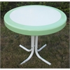 Metal Retro Round Table, Lime And White Metal