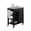 Edmonton Kitchen Cart, Black W/Natural Top