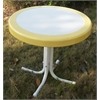 Metal Retro Round Table, Yellow And White Metal