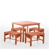 5-Piece Dining Set with Eucalyptus Wood Square Table and Backless Benches