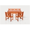 Sturdy and Large Dining Set with rectangular table, 5-footbench and Arm Chairs