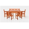 Malibu Wood 6-piece Outdoor Dining Set with 5-foot Bench