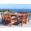 Malibu Wood 9-piece Outdoor Dining Set