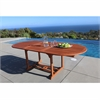Malibu Outdoor Wood Oval Extention Table with Foldable Butterfly