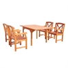 Malibu Eco-friendly 5-piece Outdoor Hardwood Dining Set with Rectangle Extention Table and Arm Chairs