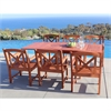 Malibu Eco-friendly 7-piece Outdoor Hardwood Dining Set with Rectangle Extention Table and Arm Chairs