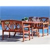 Malibu Eco-friendly 4-piece Outdoor Hardwood Dining Set with Rectangle Table, 5-foot Bench and Arm Chairs