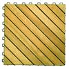 12 Diagonal Slat Acacia Interlocking Deck Tile  (Teak Finish)