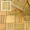4 Slat Acacia Interlocking Deck Tile (Teak Finish - Set of 10 Tiles)