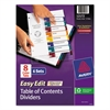 Avery Ready Index Customizable Table of Contents, Asst Dividers, 8-Tab, Ltr, 6 Sets