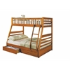 Jason Twin/Full Bunk Bed with Drawers, Honey Oak Finish