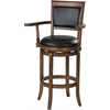 Chelsea Bar Chair with Swivel, Black PU & Oak