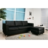 Kemen Sectional Sofa (Reversible Chaise), Black PU